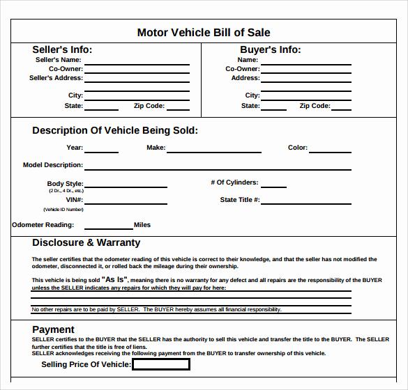 Car Bill Of Sale Pdf New Sample Auto Bill Of Sale 7 Documents In Pdf