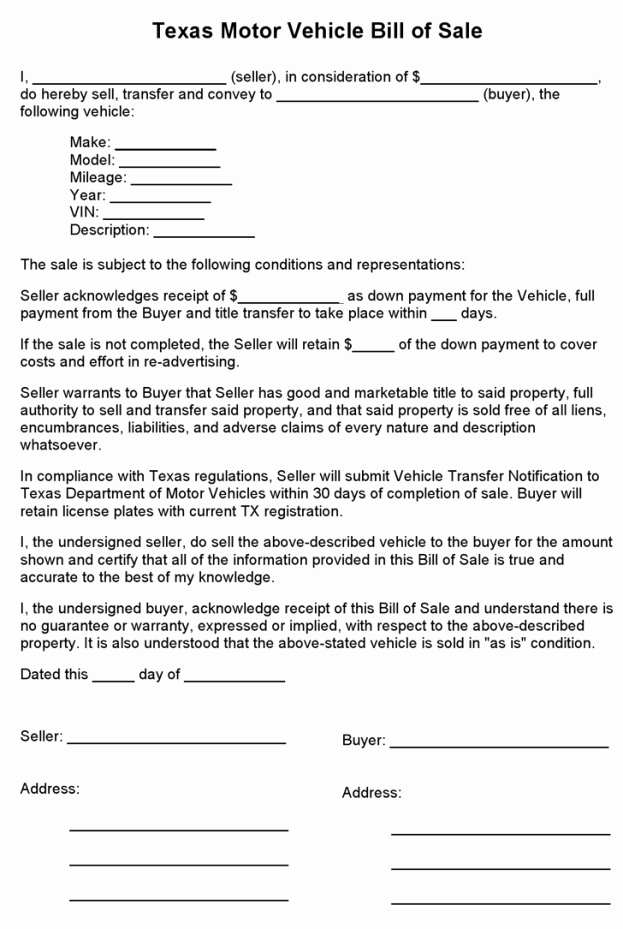 Car Bill Of Sale Texas Inspirational Free Texas Motor Vehicle Bill Sale form Pdf 1 Pages