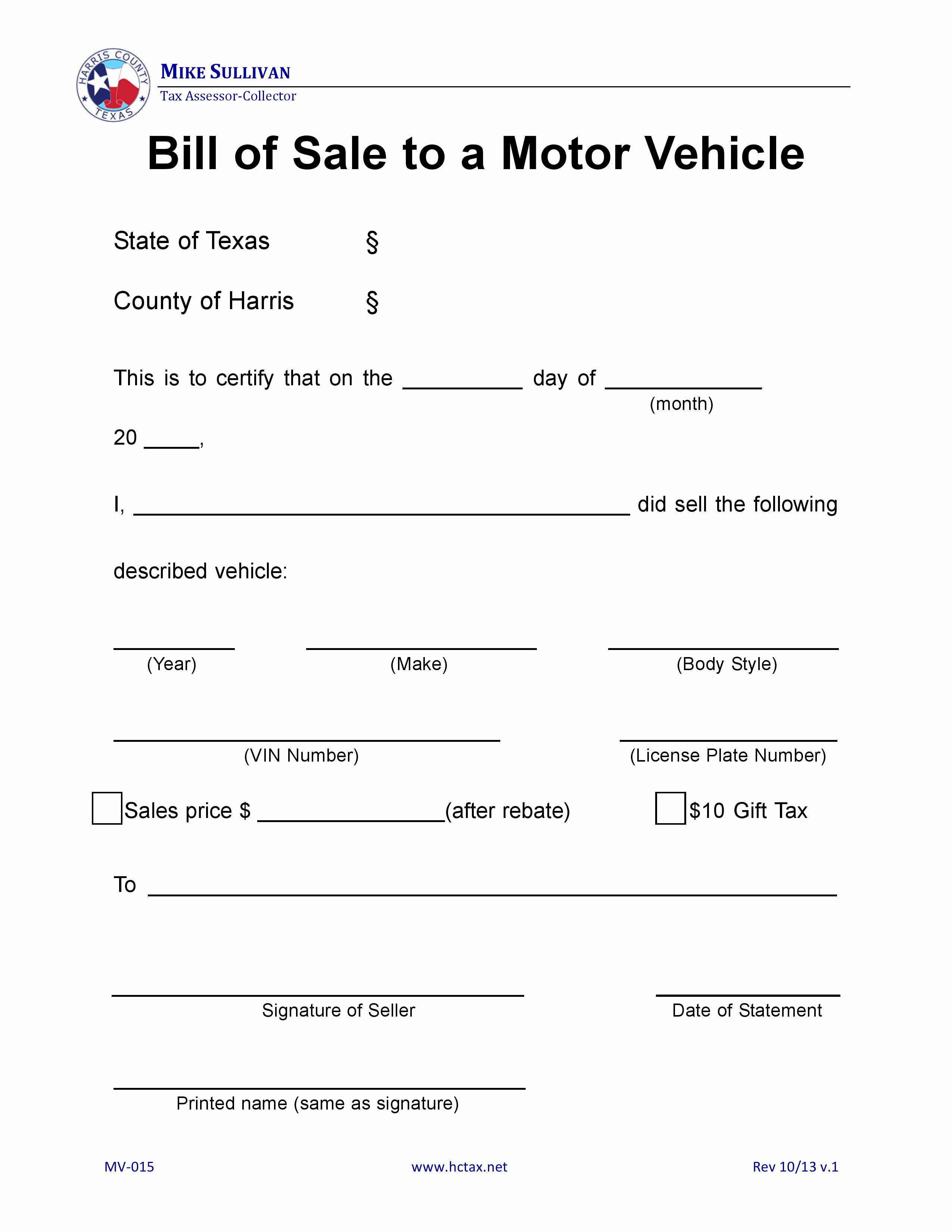 Car Bill Of Sale Texas Lovely Free Harris County Texas Motor Vehicle Bill Of Sale Mv