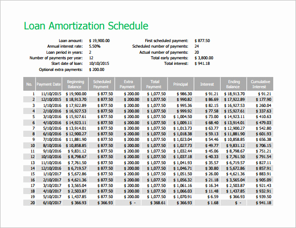 Car Loan Amortization Schedule Excel Lovely Amortization Schedule Template 10 Free Sample Example