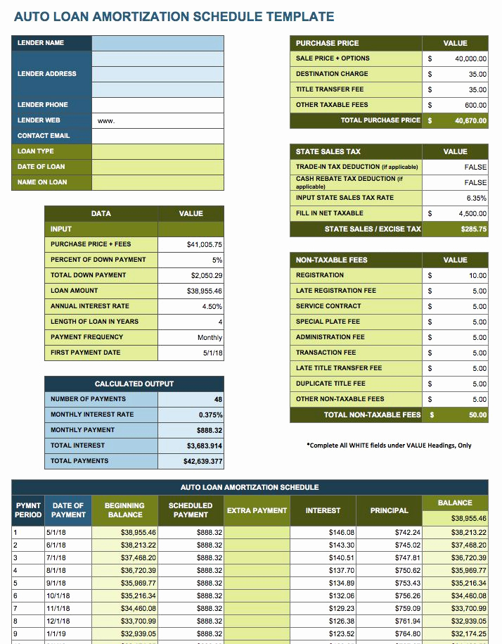 Car Loan Amortization Schedule Excel Lovely Free Excel Amortization Schedule Templates Smartsheet