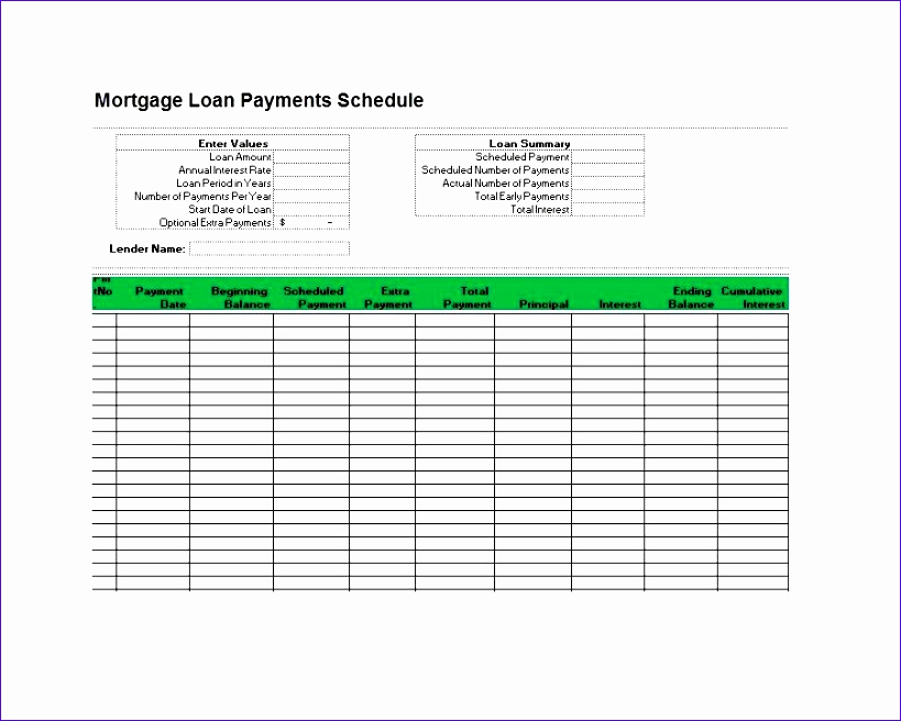Car Loan Amortization Schedule Excel Unique 8 Amortization Schedule Excel Template Exceltemplates