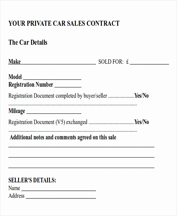 Car Sale Agreement Word Doc Inspirational Sample Car Sales Contract 12 Examples In Word Pdf
