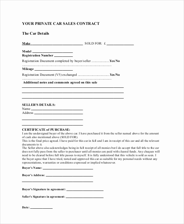 Car Sale Agreement Word Doc Lovely Sample Sales Contract Agreement 10 Examples In Word Pdf