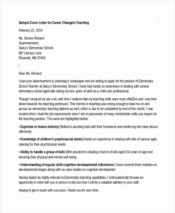 Career Change Cover Letter Sample Awesome 6 Career Change Cover Letter Free Sample Example