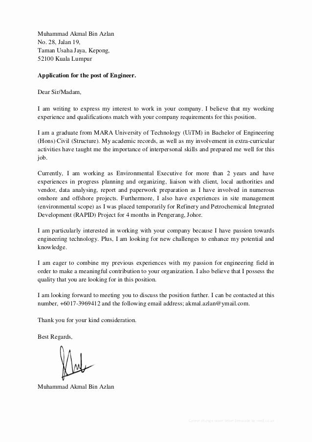Career Change Cover Letter Sample Lovely Akmal Azlan Cv & Cover Letter
