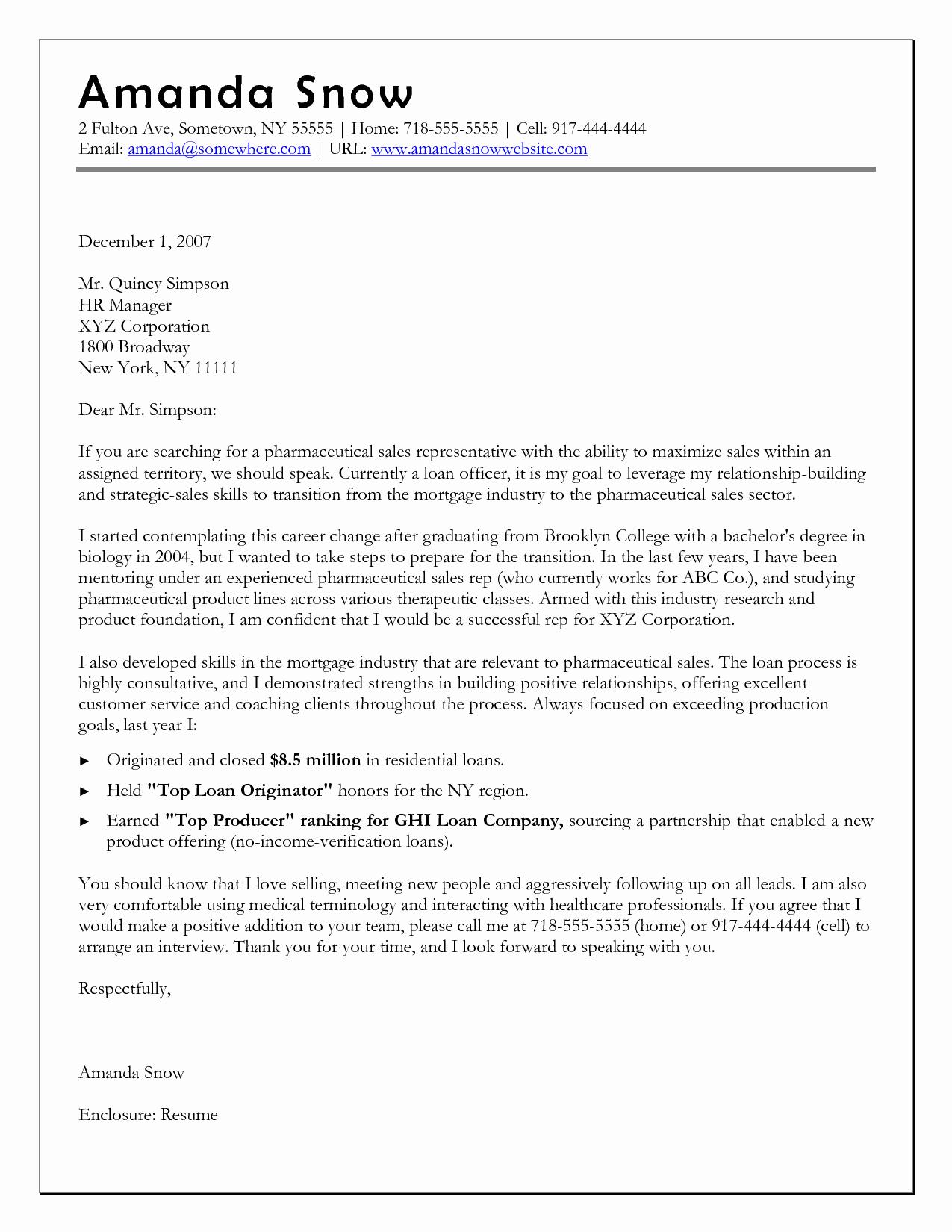 Career Change Cover Letter Sample New Career Change Cover Letter