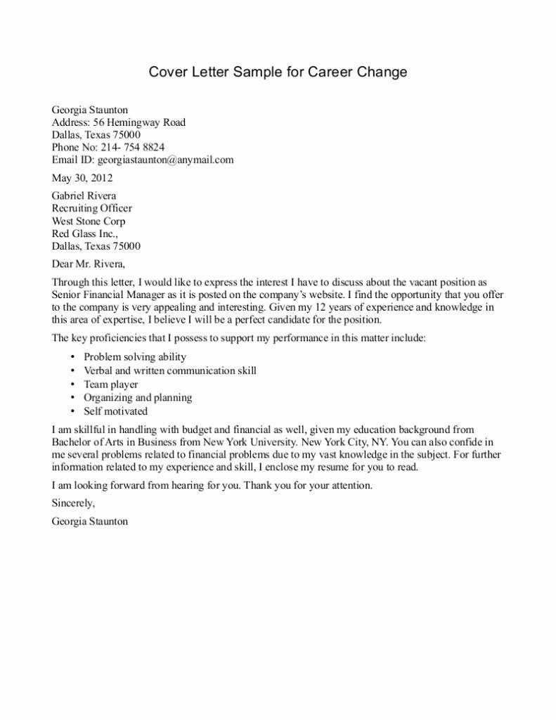 Career Change Cover Letter Samples Inspirational 10 Sample Of Career Change Cover Letter
