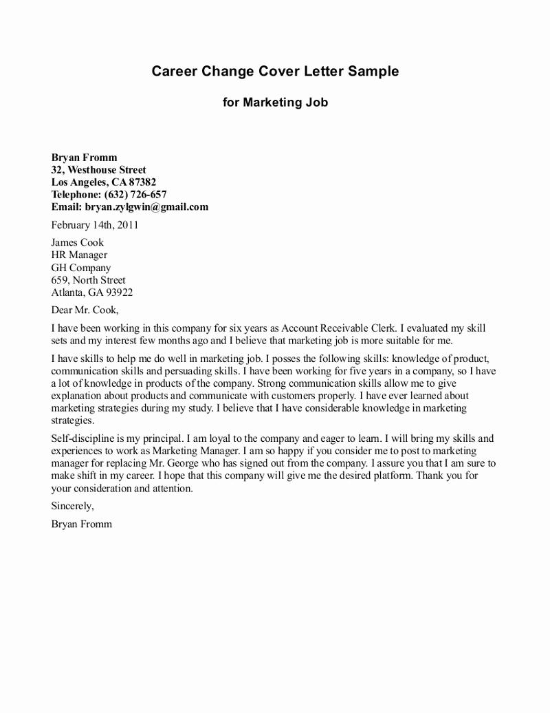 Career Change Cover Letter Samples Unique 10 Sample Of Career Change Cover Letter