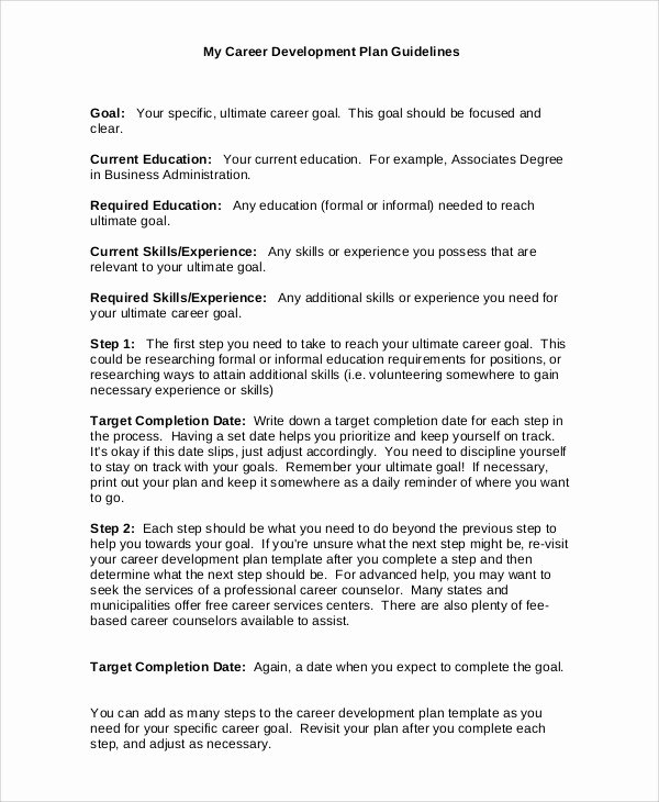 Career Development Plan Template Best Of Sample Plan 43 Examples In Word Pdf