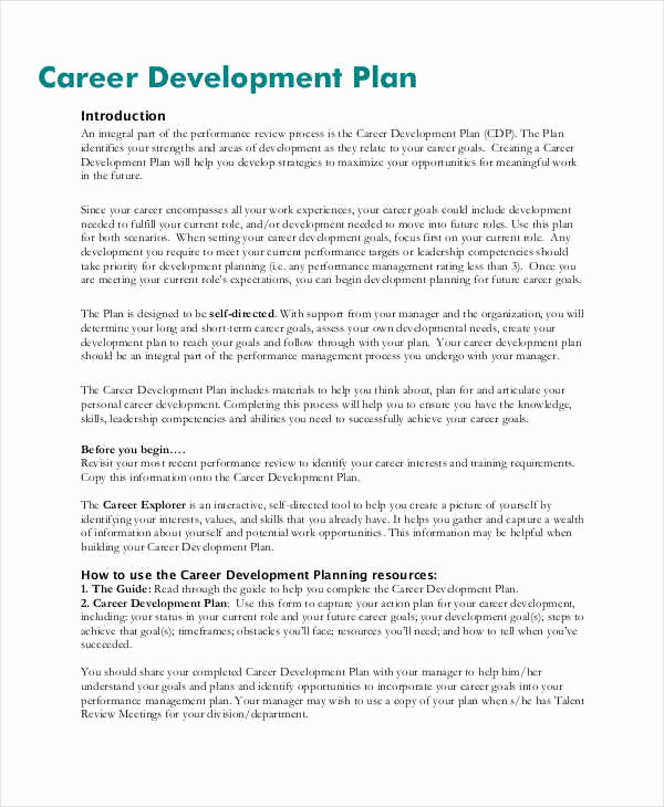 Career Development Plan Template Fresh 40 Plan Samples & Templates In Pdf