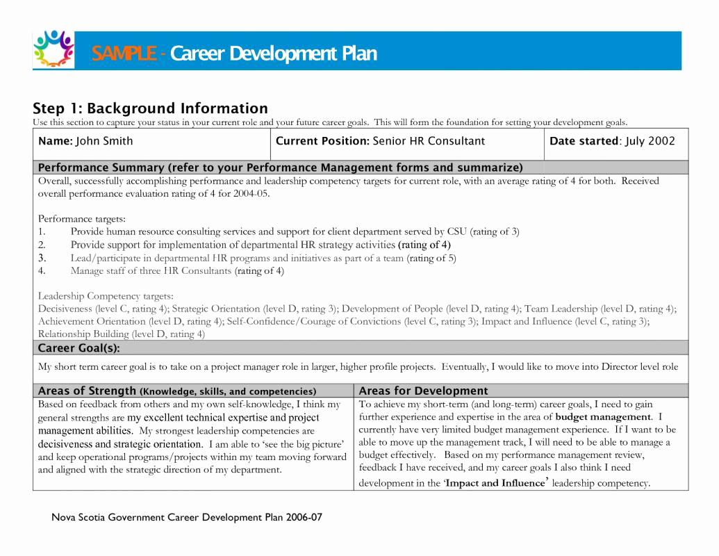 Career Development Plan Template Fresh Career Development Plan