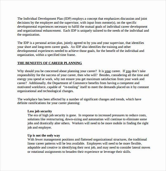 Career Development Plan Template Fresh Sample Career Plan 11 Documents In Pdf Word