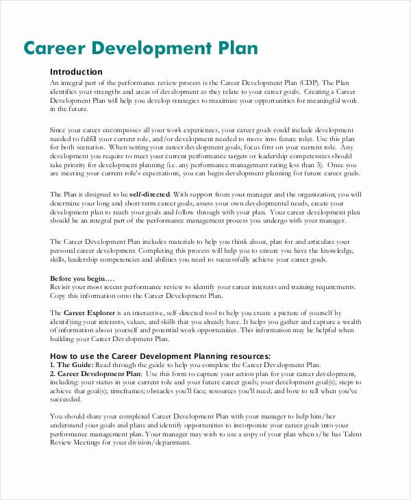 Career Development Plan Template Inspirational 40 Plan Samples & Templates In Pdf