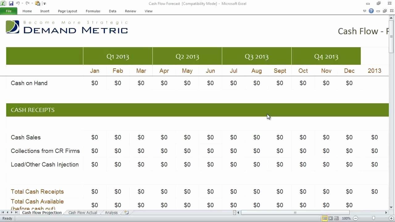 Cash Flow Template Excel Fresh Cash Flow forecast Template