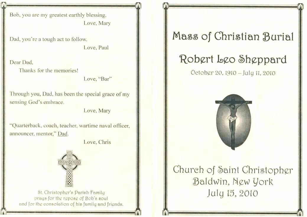 Catholic Funeral Mass Program Beautiful 10 11 Memorial Program Samples