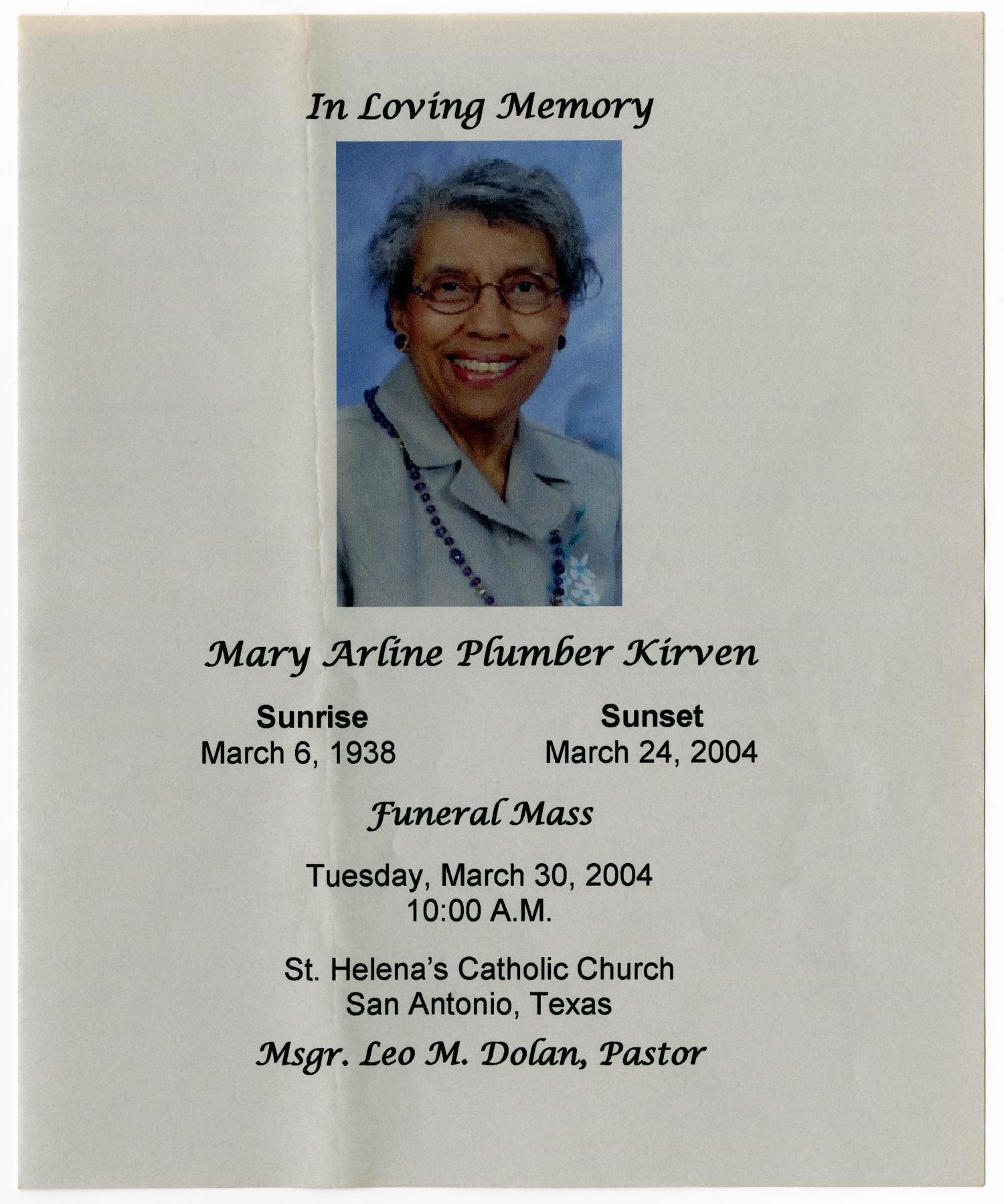 Catholic Funeral Mass Program Elegant [funeral Program for Mary Arline Plumber Kirven March 30
