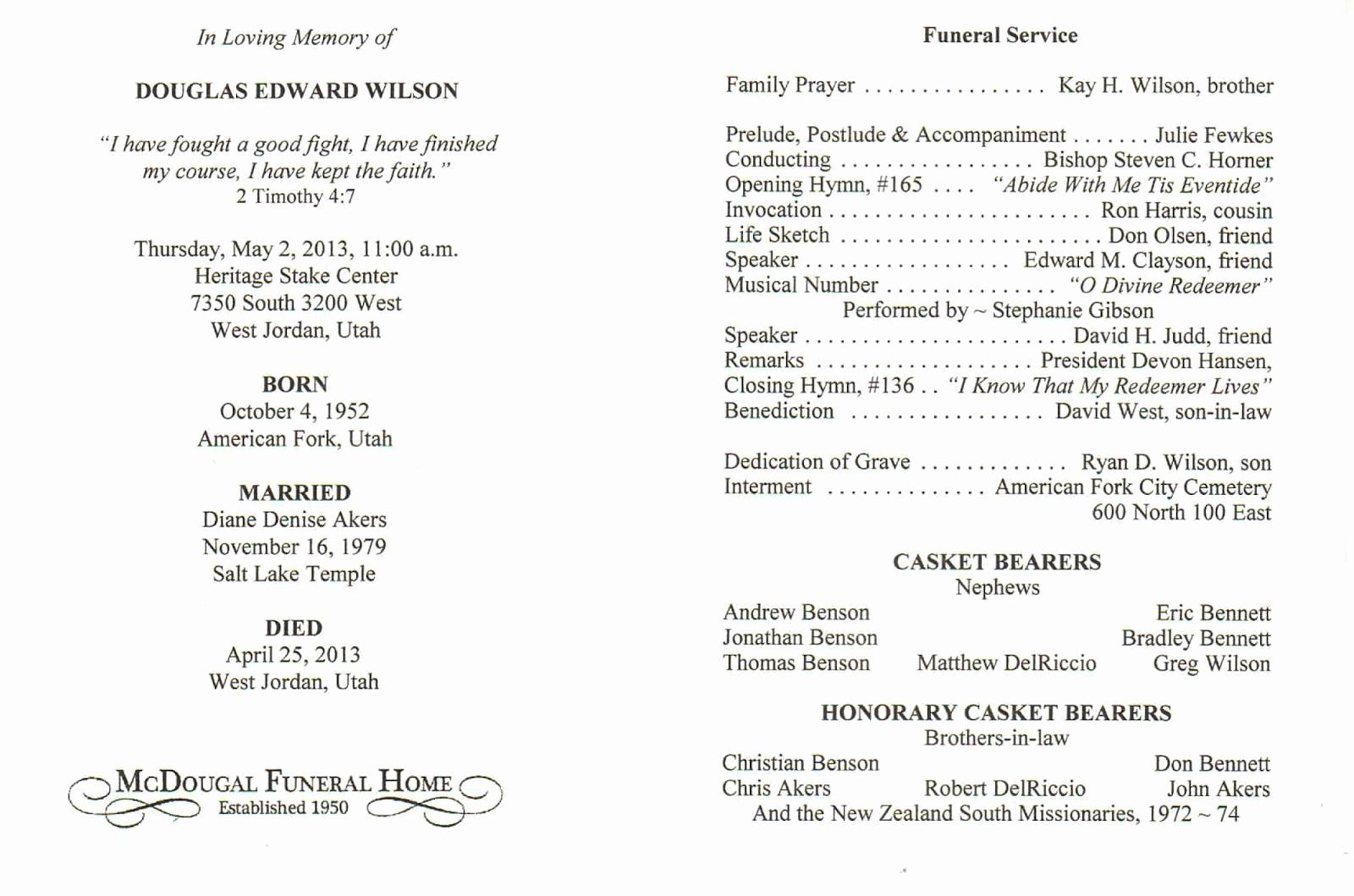Catholic Funeral Mass Program Luxury Doug Wilson S Latest Funeral Recording and Program
