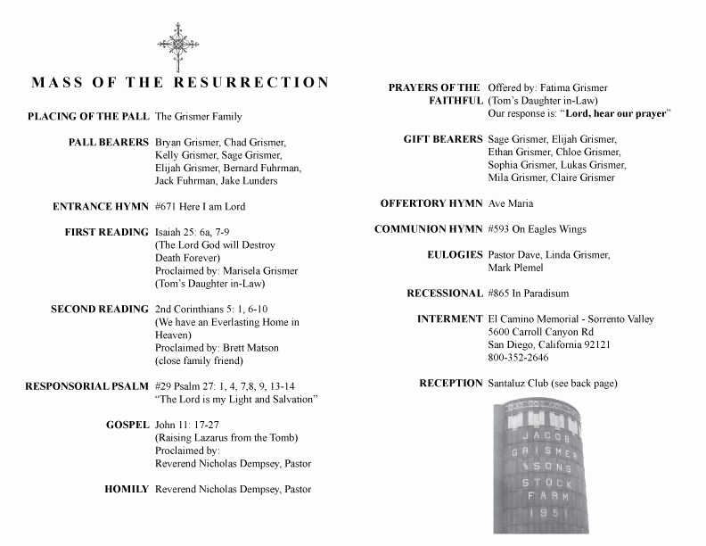 Catholic Funeral Mass Program Luxury Thomas Grismer Obituary San Diego California El