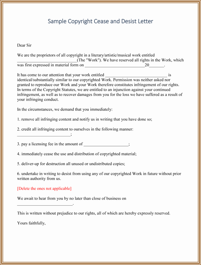 Cease and Desist Letter Sample Beautiful Cease and Desist Templates 6 Letters and forms for Word