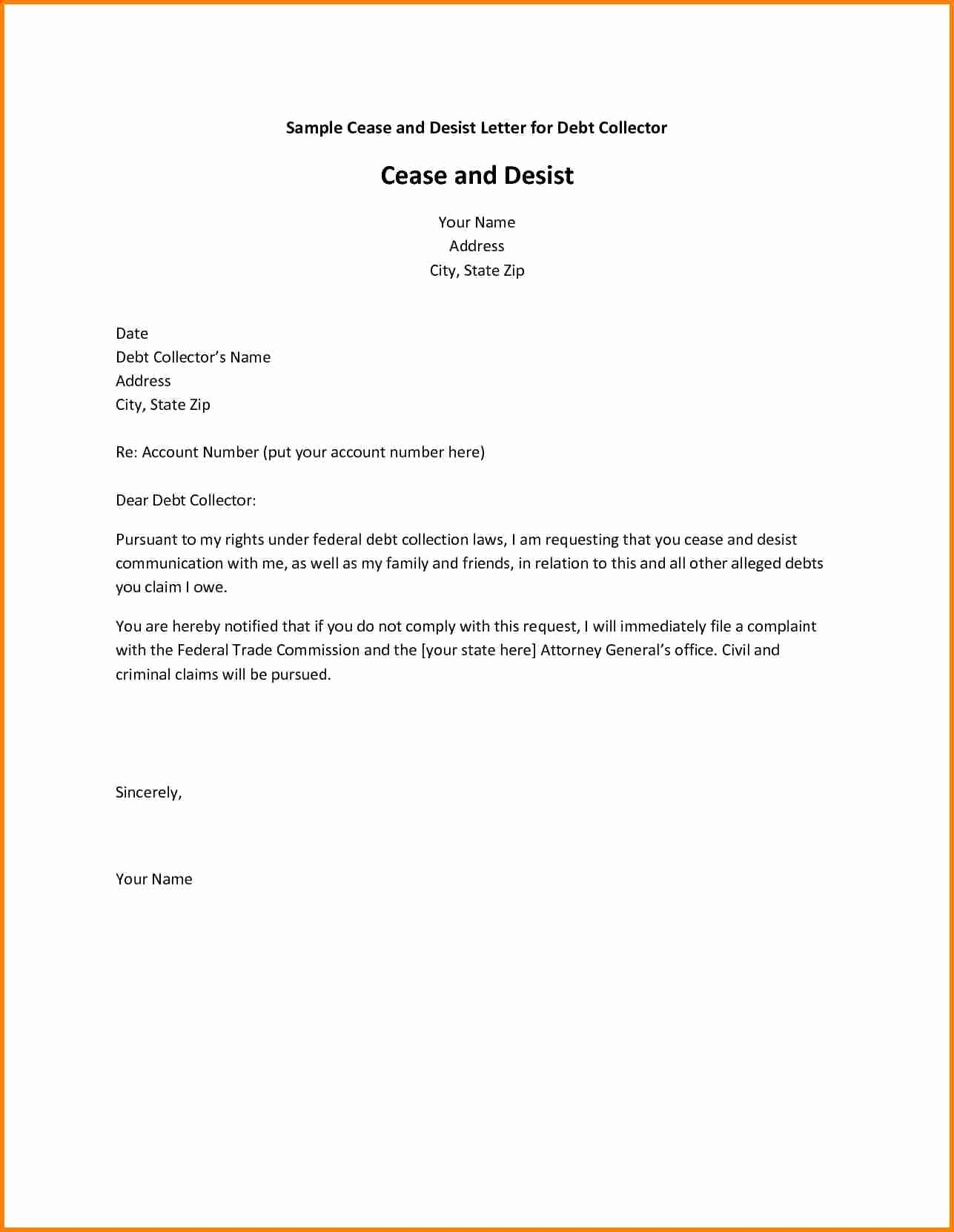Cease and Desist Letter Sample New Cease and Desist Collection Letter Template Collection