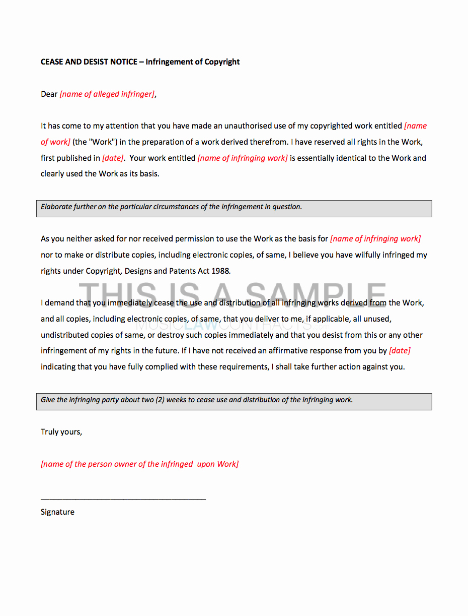 Cease and Desist Letter Sample Unique Cease and Desist Letter for Copyright Infringement Template