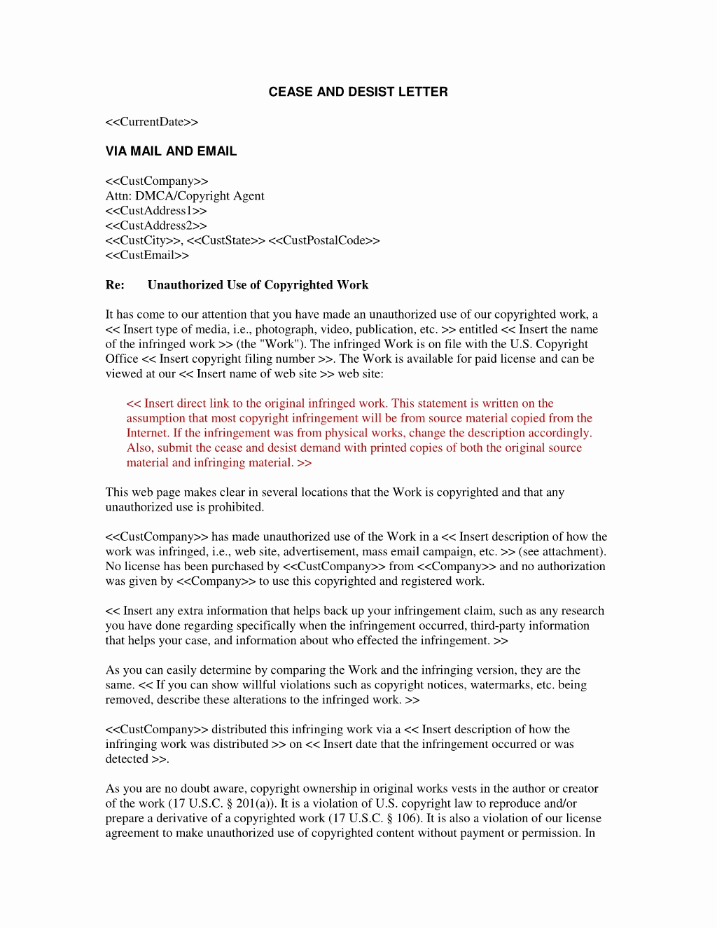 Cease and Desist Letters Sample Fresh Cease and Desist Letter Patent Infringement Template