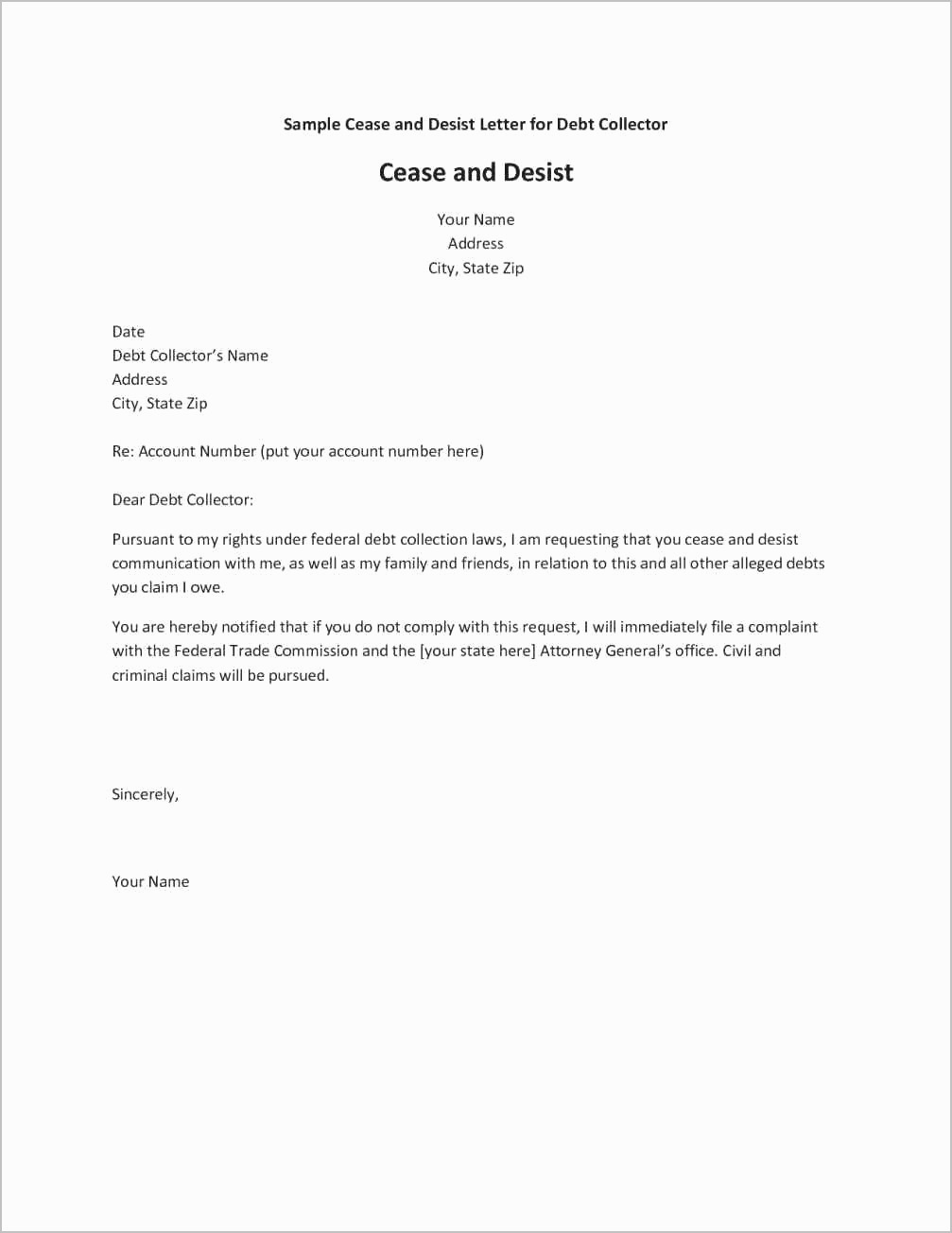 Cease and Desist Letters Sample Luxury Cease and Desist Letter Harassment