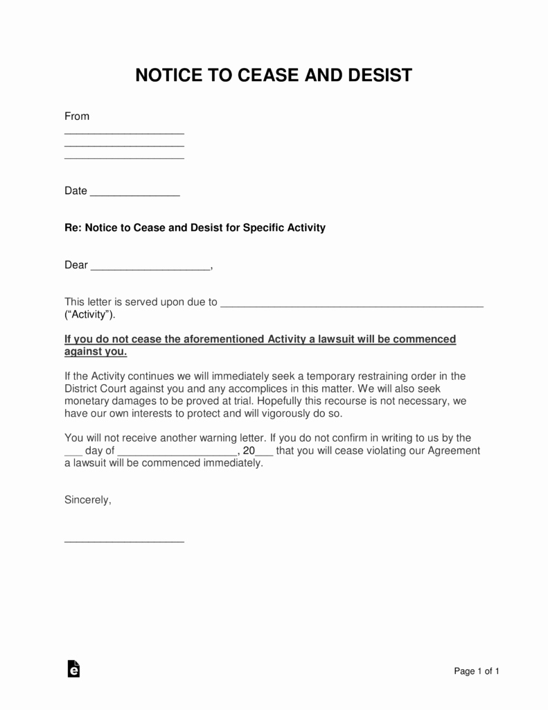 Cease and Desist Letters Sample New Free Cease and Desist Letter Templates with Sample