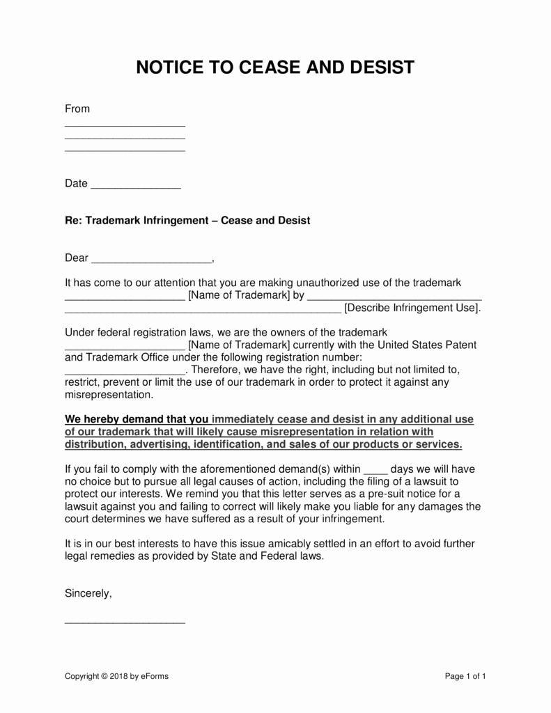 Cease and Desist Letters Sample Unique Cease and Desist Letter Trademark Infringement Template