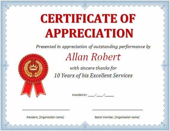 Certificate Of Appreciation Template Free Awesome Ms Word Certificate Of Appreciation