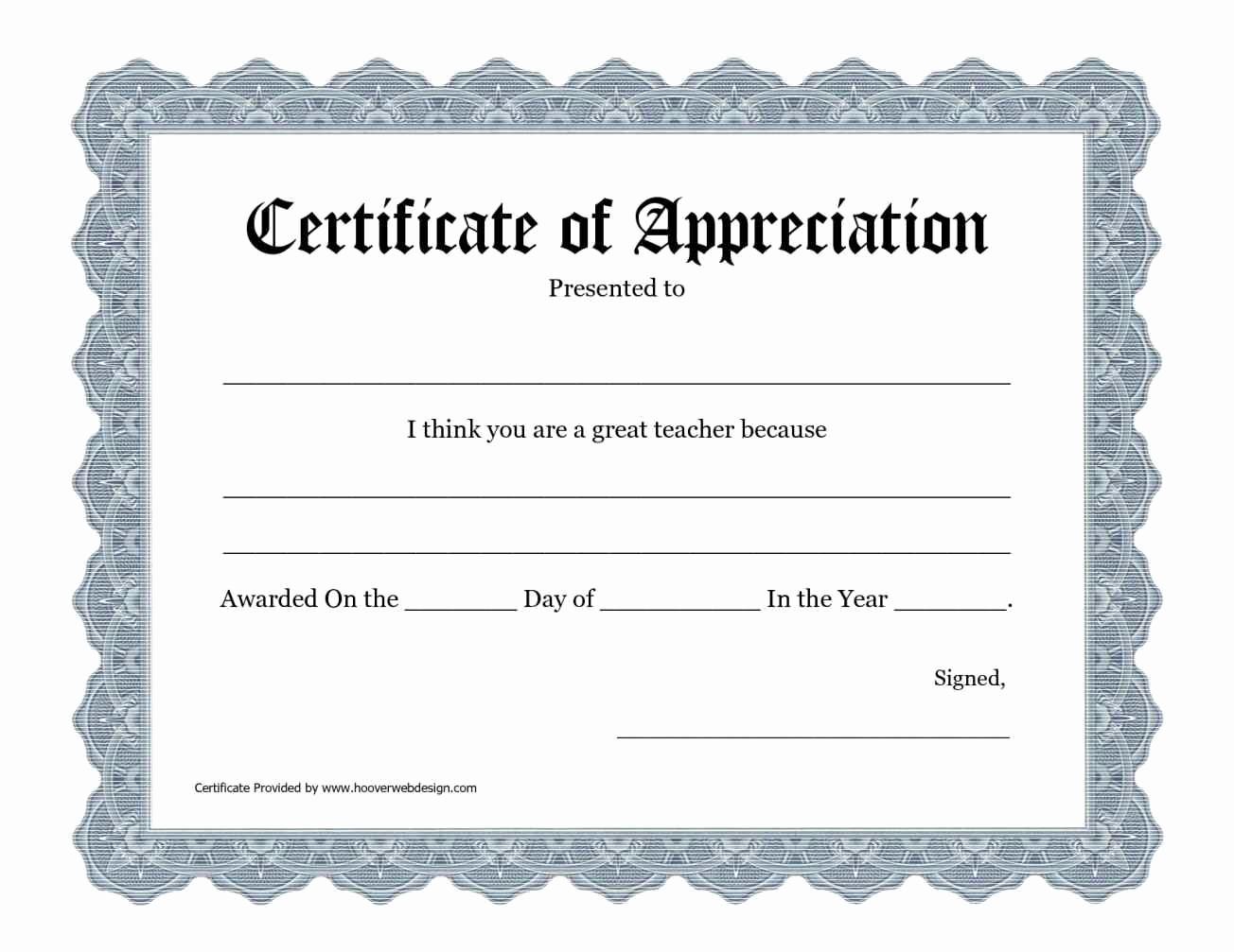 Certificate Of Appreciation Template Free Fresh Free Printable Certificate Appreciation Templates