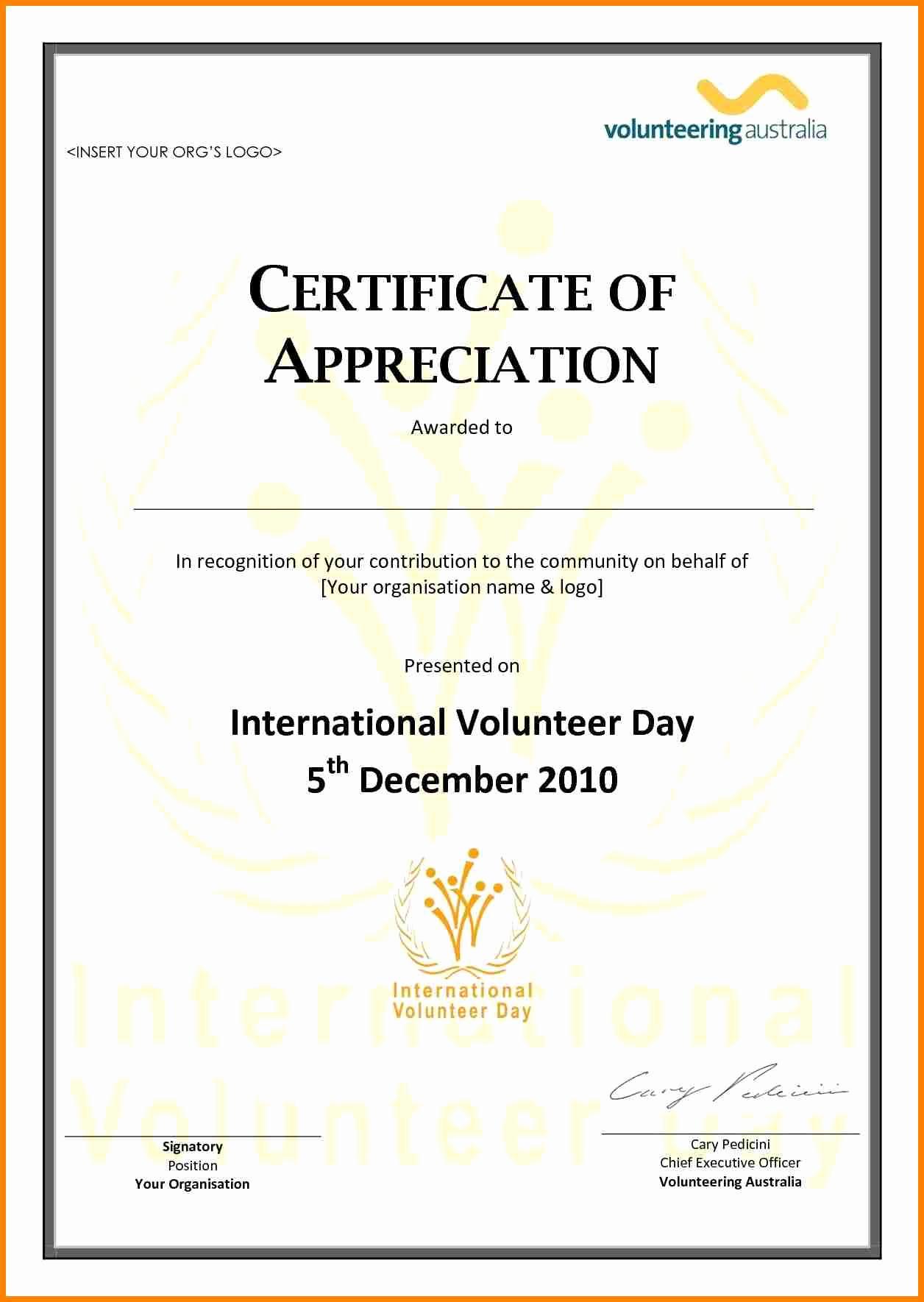 Certificate Of Appreciation Template Free Fresh Volunteer Appreciation Certificate Template