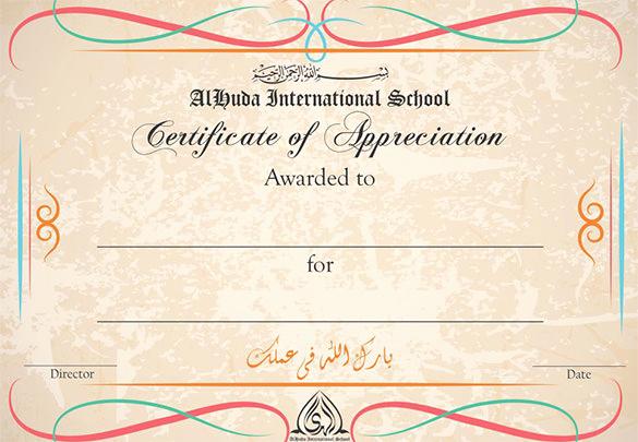 Certificate Of Appreciation Template Free Inspirational 30 Certificate Of Appreciation Templates Word Pdf Psd