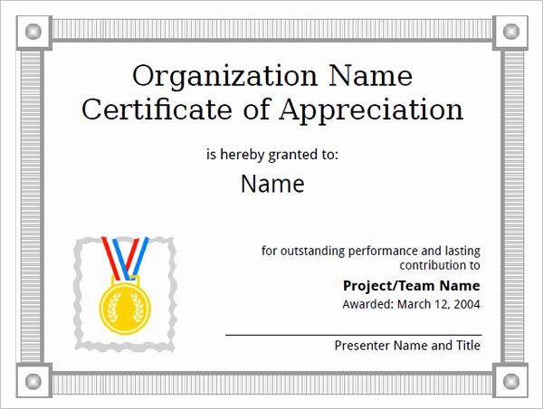 Certificate Of Appreciation Template Free Luxury 31 Certificate Of Appreciation Templates – Sample Word