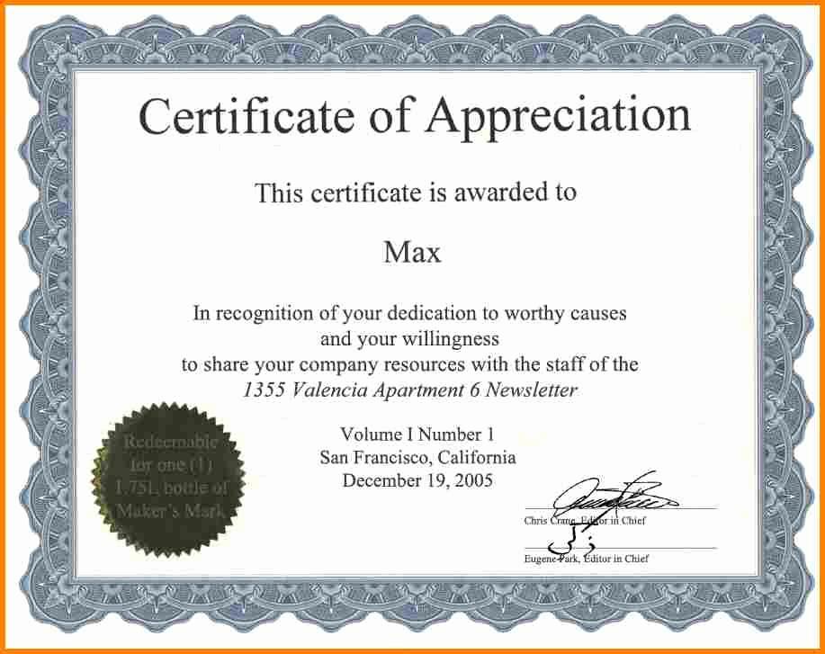 Certificate Of Appreciation Template Free Luxury Certificate Appreciation Wording