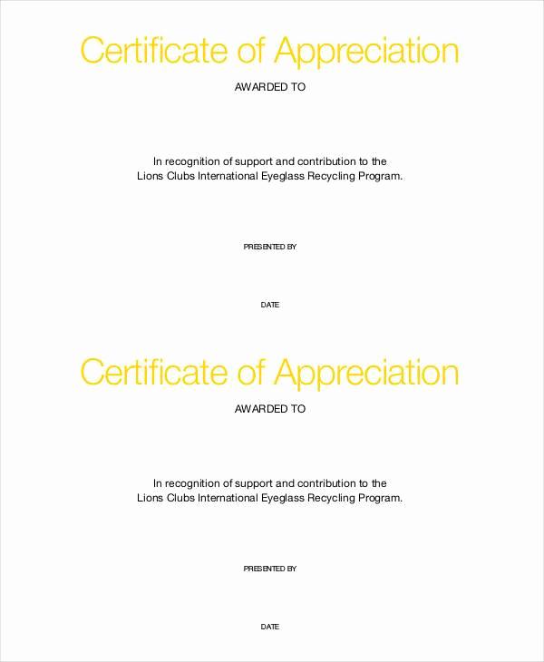 Certificate Of Appreciation Template Free New 37 Certificate Of Appreciation Templates Pdf Docs