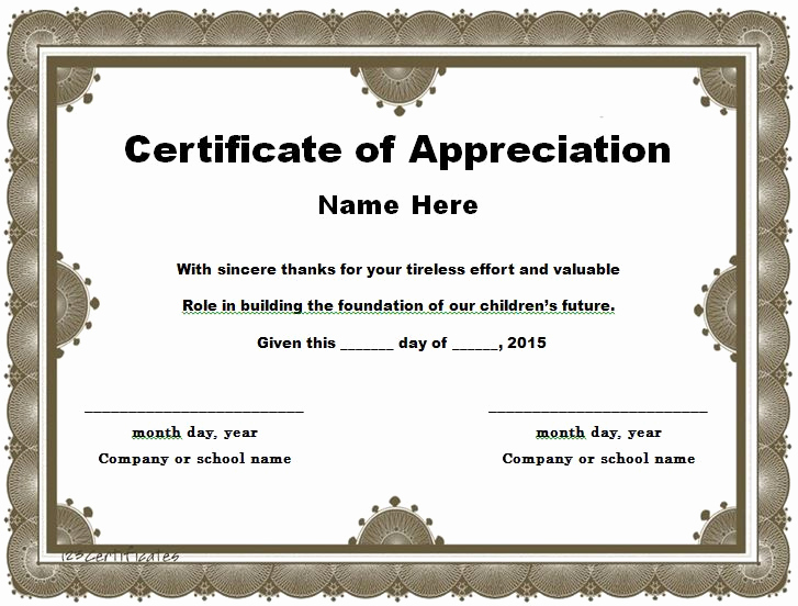 Certificate Of Appreciation Template Free Unique 30 Free Certificate Of Appreciation Templates and Letters