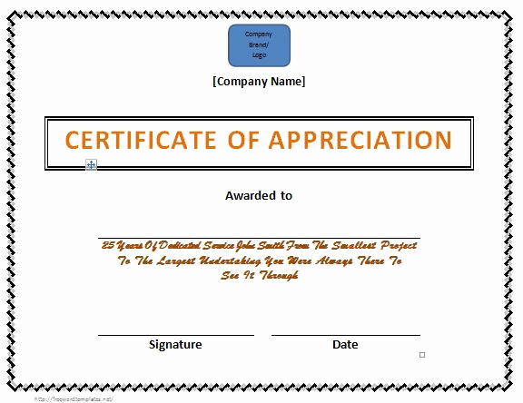 Certificate Of Appreciation Template Free Unique 31 Free Certificate Of Appreciation Templates and Letters
