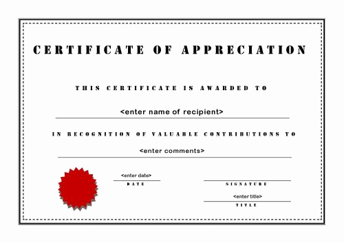 Certificate Of Appreciation Template Free Unique Certificates Of Appreciation 003