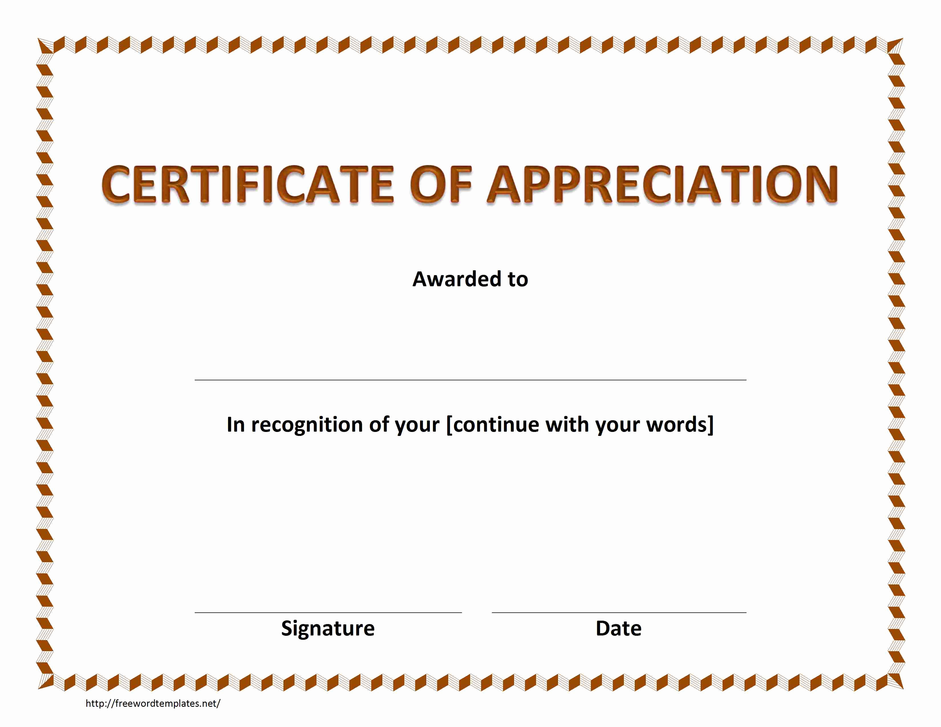 Certificate Of Appreciation Template Word Beautiful Certificate Of Appreciation