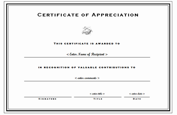 Certificate Of Appreciation Template Word Beautiful Certificate Of Appreciation Templates