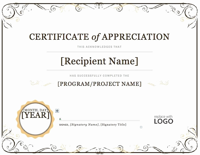 Certificate Of Appreciation Template Word Elegant Certificate Of Appreciation – Microsoft Word