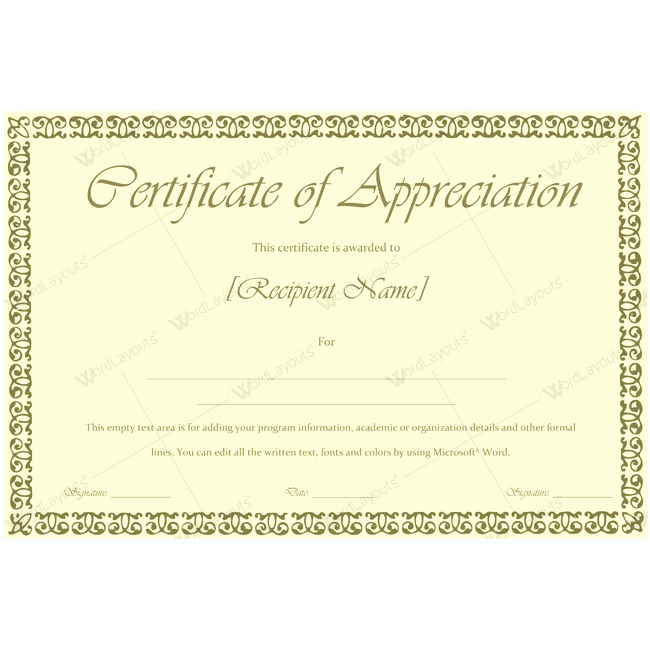 Certificate Of Appreciation Template Word Luxury 89 Elegant Award Certificates for Business and School events