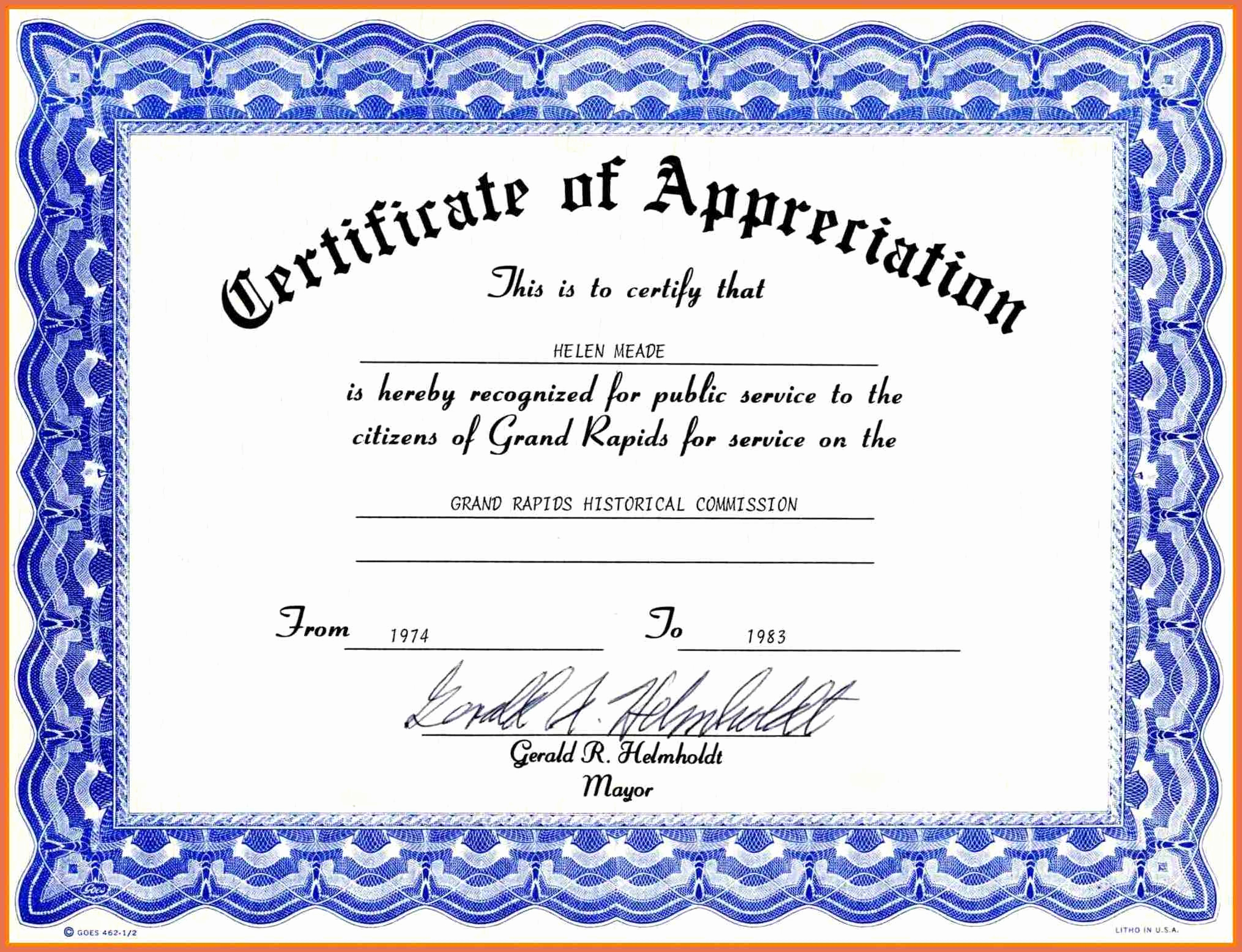 Certificate Of Appreciation Template Word Luxury Certificate Appreciation Template Free Download