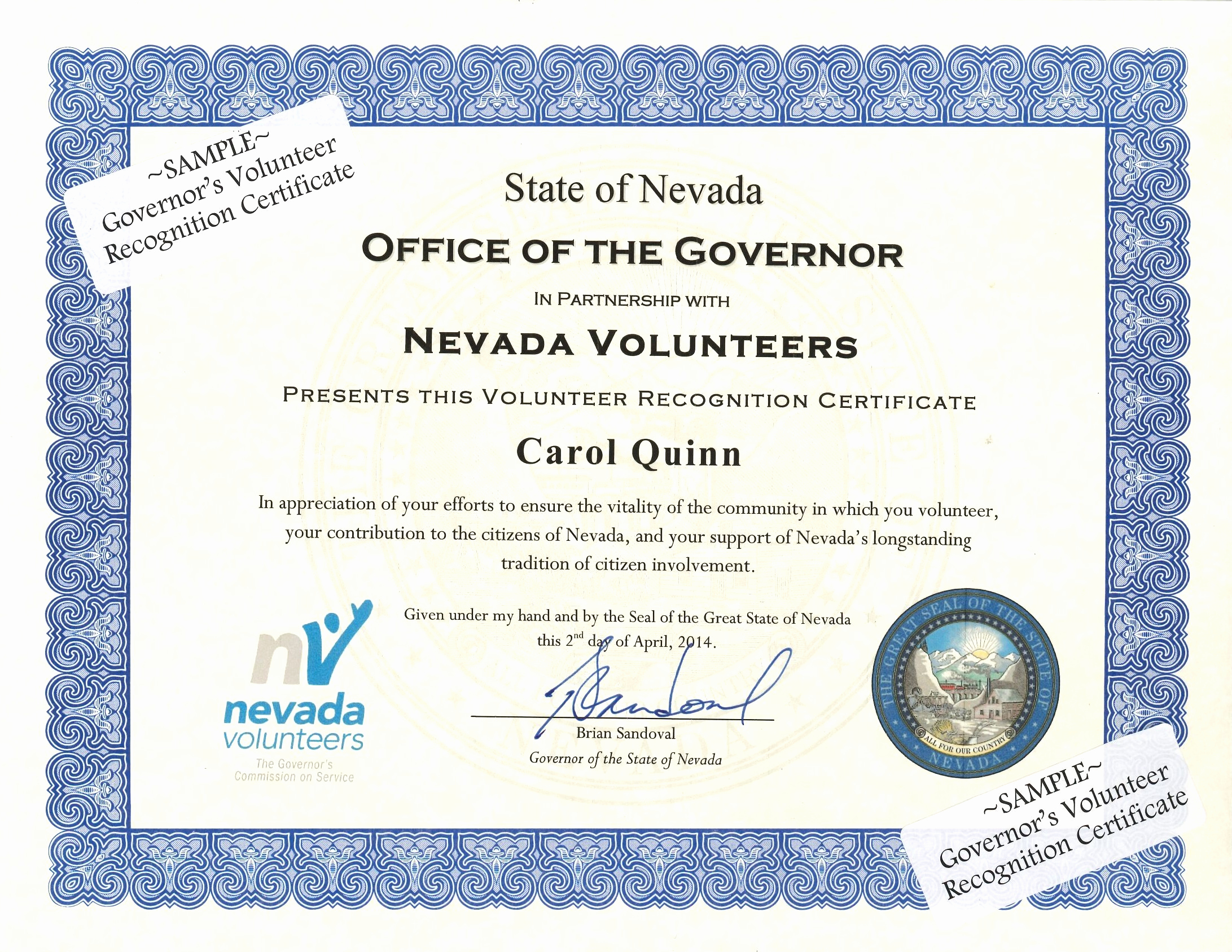 Certificate Of Appreciation Wording Best Of Governor S Volunteer Recognition Certificate Nevada