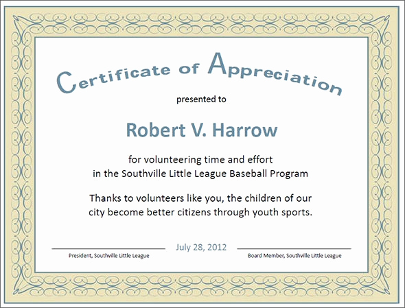 Certificate Of Appreciation Wording Lovely Certificate Of Appreciation Templates 35 Download In