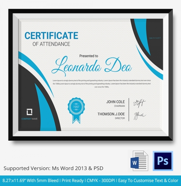 Certificate Of attendance Template Awesome attendance Certificate Template – 24 Free Word Pdf
