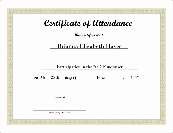 Certificate Of attendance Template Awesome Printable attendance Certificates