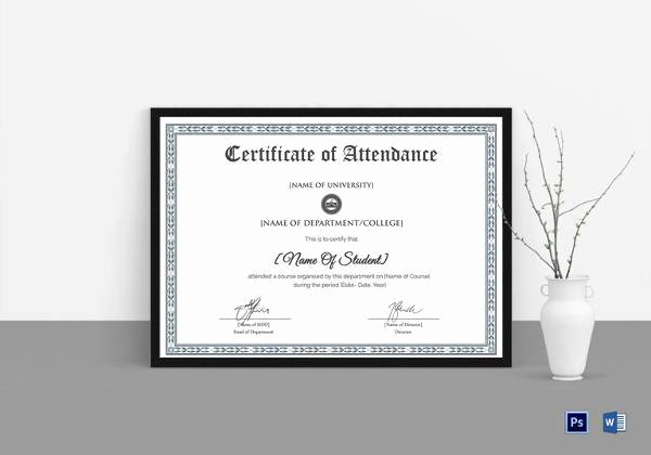 Certificate Of attendance Template Beautiful 16 attendance Certificate Template Download Free